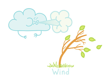 strong wind: illustration of a strong wind