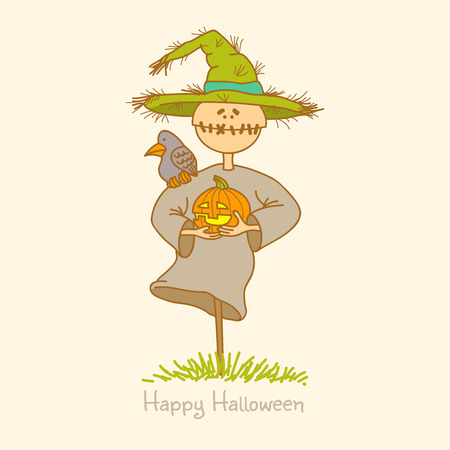 Illustration of a scarecrow with pumpkin Vector