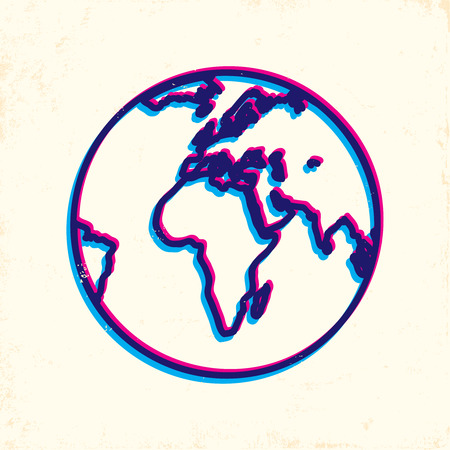 Illustration of Earth on old paper Vector