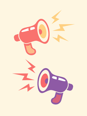 speaker icon: Illustration of a retro megaphone and lightning