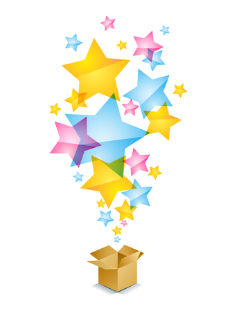 yellow star: illustration of a box with stars