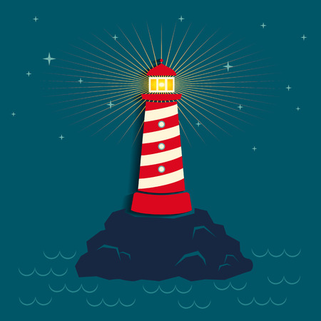 lighthouse at night: Illustration of a lighthouse in dark background