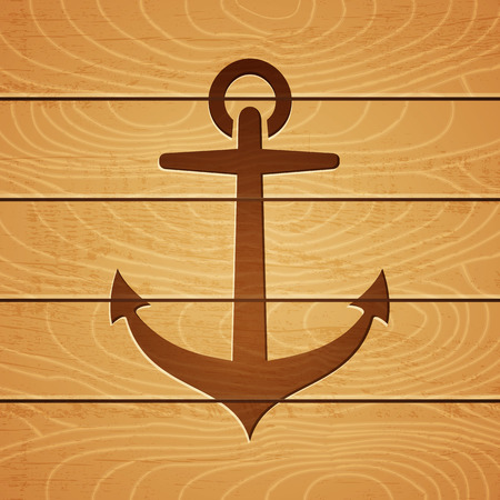 stigma: Illustration of an anchor on wooden background Illustration