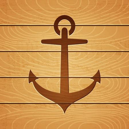 marqueteria: Ilustración de un ancla en el fondo de madera