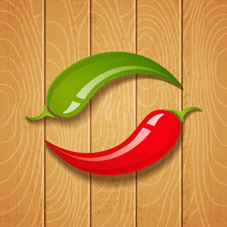 Two chili peppers on wooden background Illustration