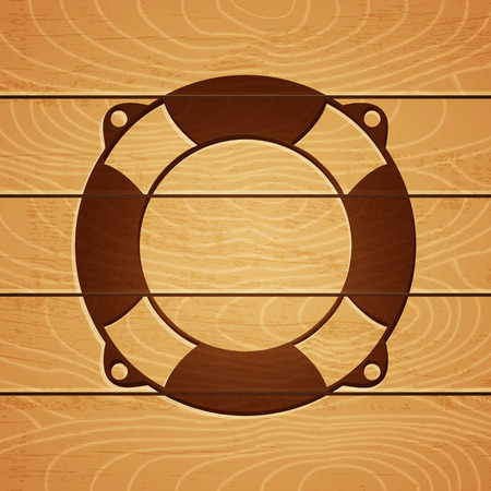 stigma: Illustration of a lifebuoy on wooden background
