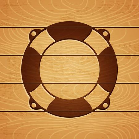 marqueteria: Ilustración de un salvavidas en el fondo de madera