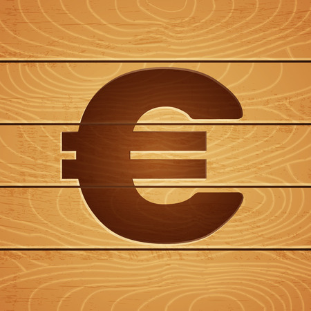 burning money: illustration of an euro on wooden background