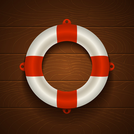 Illustration of a lifebuoy on wooden background Vector