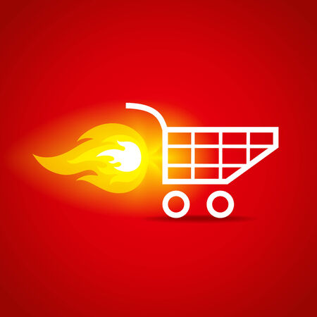 internet speed: illustration of a shopping cart with flame
