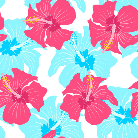 Vector seamless pattern with hibiscus Vector