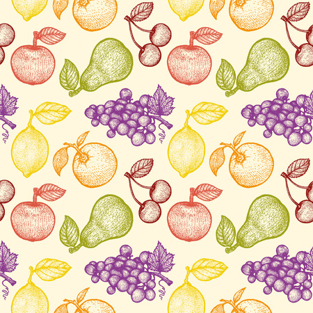 illustration of a retro fruits pattern Vector