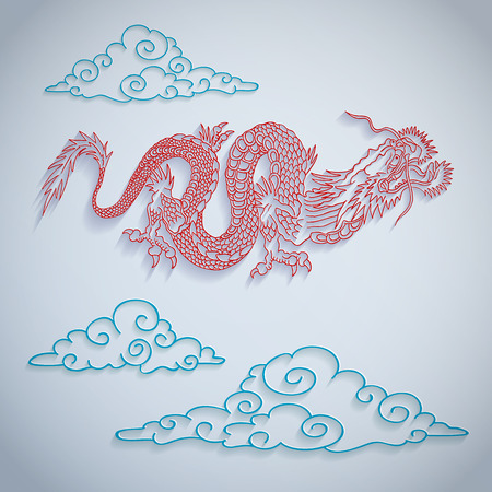 mythological character: illustration of a dragon cut out of paper Illustration