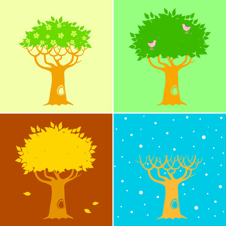 Illustration of a four seasons Vector