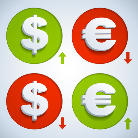 bank rate: Set icons dollar and euro