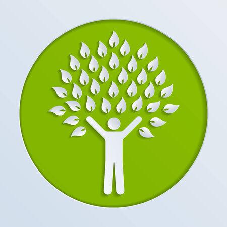 arbol geneal�gico: Ilustraci�n de un �rbol de papel humano Vectores