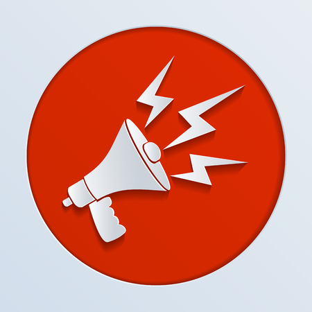 illustration of a white paper megaphone Vector