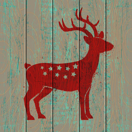Reindeer on old wooden background Vector