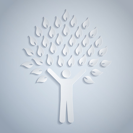 simbolo uomo donna: Illustrazione di un albero di carta umana