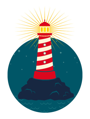 lighthouse with beam: Illustration of a lighthouse in dark background