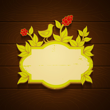 Banner with bird and red berries Vector