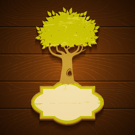 Vintage banner with green tree Vector