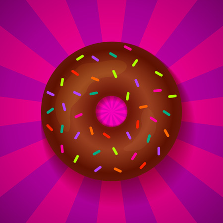 Donut on bright background