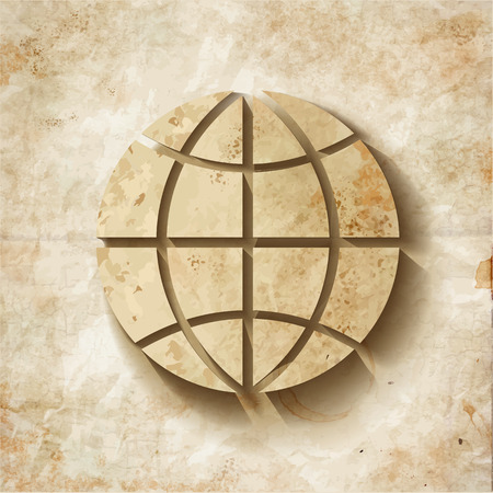 earth logo: Illustration of a old shabby Paper Globe