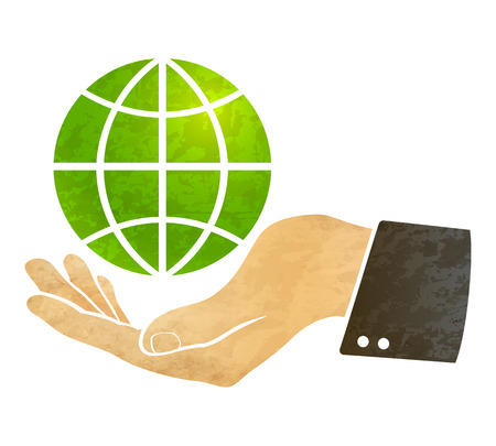 illustration of a hand and globe Vector