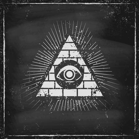 Pyramid with eye on chaldboard Vector