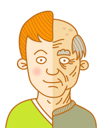 baldness: illustration of a Age and youth Illustration