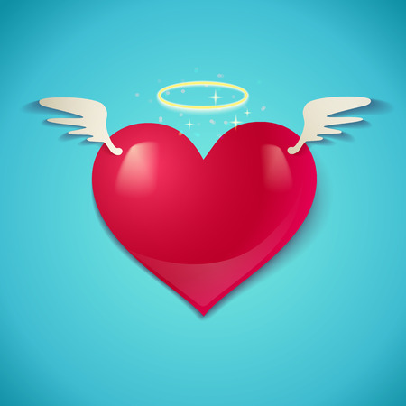 Illustration of a heart with wings Vector