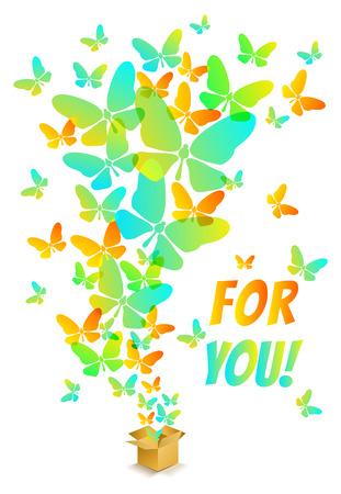 mariposas volando: Abrir el cuadro de cart�n con coloridas mariposas volando Vectores