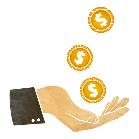dollar sign icon: illustration of a hand and golden coin