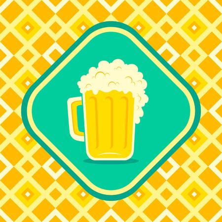 irish pub label: Illustration of a beer mug Illustration