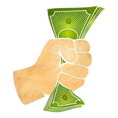 power of money: Illustration of a fist with money Illustration