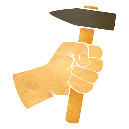 illustration of a hand holding a hammer Vector