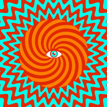 Color hypnotic retro poster with eye Vector