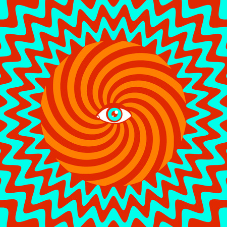 circulos concentricos: Colorea cartel retro hipnótico con el ojo