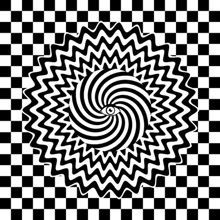 paper art: Black and white hypnotic retro poster