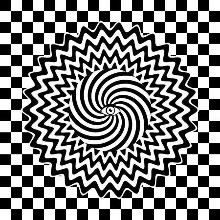 arte optico: Cartel retro hipn�tico blanco y negro Vectores