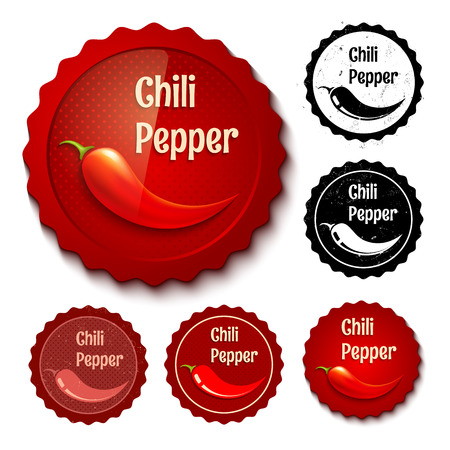 organic peppers sign: Vector set of new and retro chili stamps Illustration