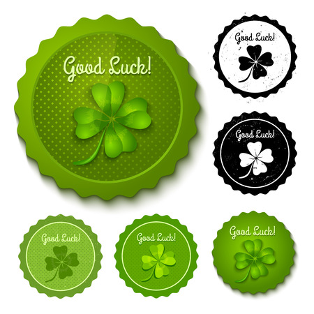 lucky clover: Vector set of new and retro clover stamps