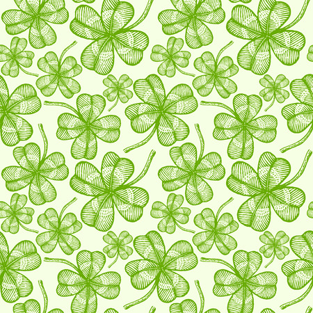 illustration of a seamless clovers pattern Vector