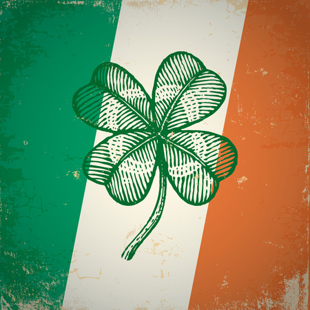Retro clover on Irish flag for Patrick day Vector