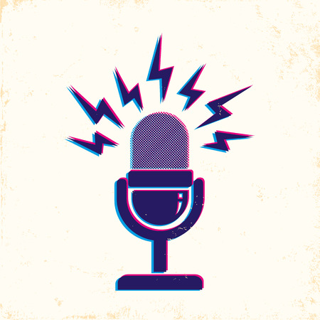 voice message: illustration of retro microphone and loud sound