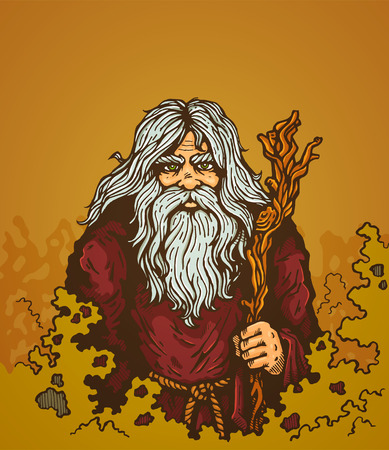Illustration of a old man with staff