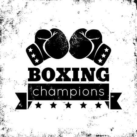rings: Vintage logo for a boxing on grunge background