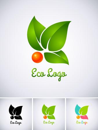 logo medicina: Logo Eco con la baya de color naranja y hojas verdes Vectores
