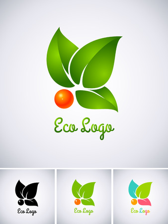Eco logo with orange berry and green leaves Vettoriali